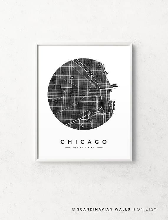 Chicago Map Print Chicago Poster Chicago Print Chicago City For Chicago Map Wall Art (Image 11 of 20)