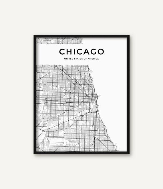 Chicago Map Print Chicago Print Black And White Chicago Wall For Chicago Map Wall Art (Image 12 of 20)