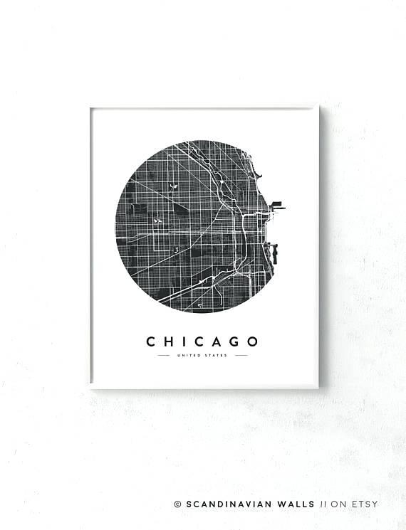 Chicago Map Wall Art A Chicago Neighborhood Map Wall Art Within Chicago Neighborhood Map Wall Art (Image 7 of 20)