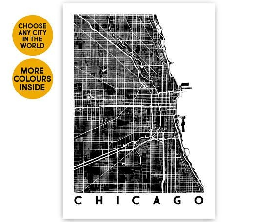 Chicago Map Wall Art Custom Map Print Travel Gift City Map With Chicago Map Wall Art (Image 15 of 20)
