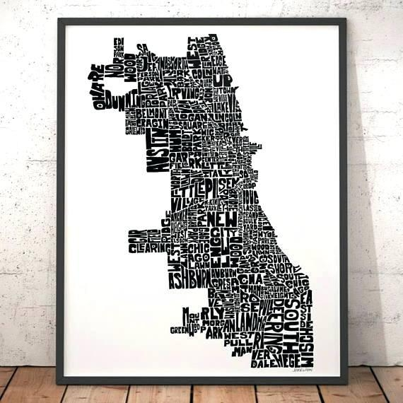 Chicago Map Wall Art – Hydroloop For Chicago Neighborhood Map Wall Art (Image 3 of 20)