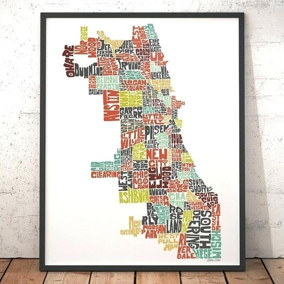 Chicago Map Wall Art Like This Item Chicago Neighborhood Map Wall Throughout Chicago Map Wall Art (Image 16 of 20)