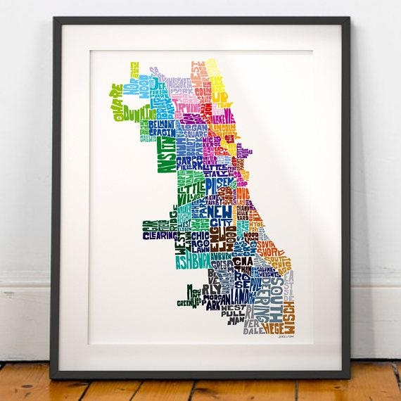 Chicago Neighborhood Map Art Print Chicago Wall Decor With Regard To Chicago Neighborhood Map Wall Art (Image 14 of 20)