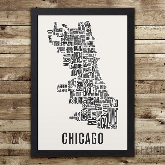 Chicago Neighborhood Map Print Chicago Wall Art Chicago Intended For Chicago Neighborhood Map Wall Art (Image 16 of 20)