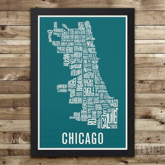 Chicago Neighborhood Map Print Chicago Wall Art Chicago Regarding Chicago Neighborhood Map Wall Art (Image 17 of 20)