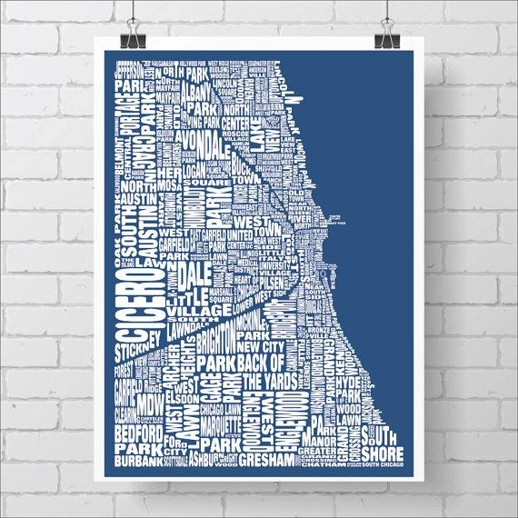 Chicago Neighborhood Map Print Custom Chicago Typography Map With Regard To Chicago Neighborhood Map Wall Art (Image 18 of 20)