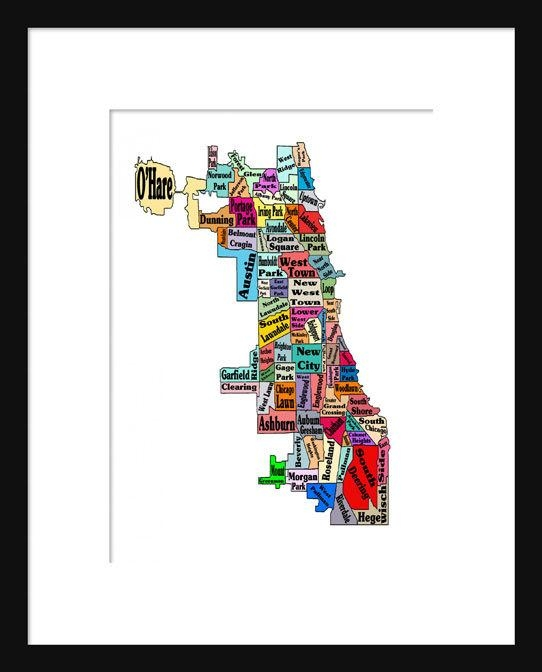 Chicago Neighborhoods Map Print Poster Neightborhoods Intended For Chicago Neighborhood Map Wall Art (Image 19 of 20)