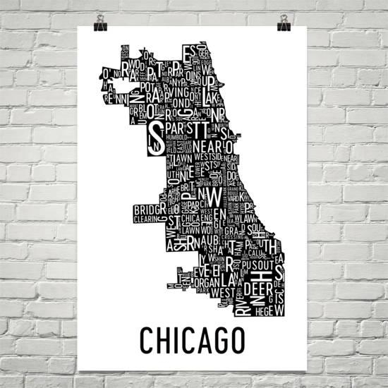 Chicago Typography Neighborhood Map Art City Print Chicago Regarding Chicago Neighborhood Map Wall Art (Image 20 of 20)