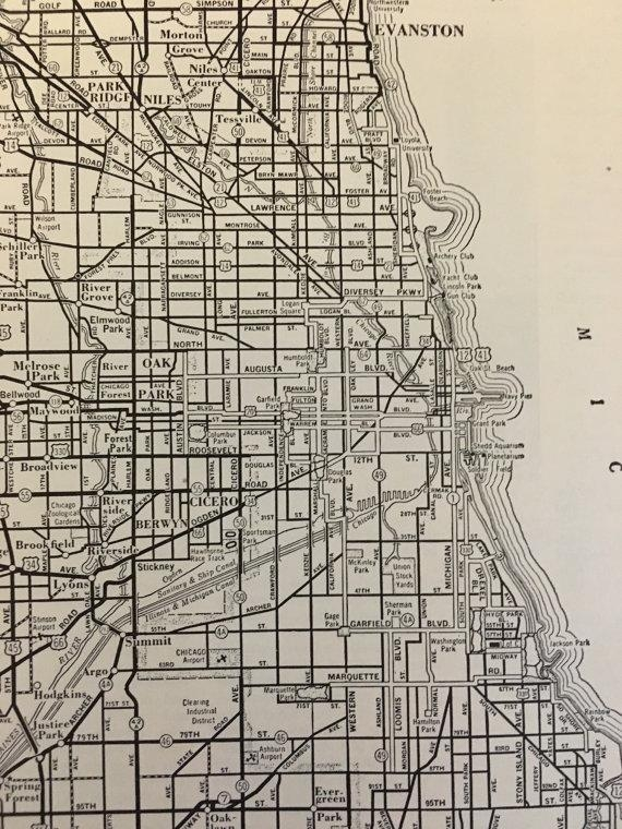 City Of Chicago Map / Vintage Map Decor / City Map Wall Art / Inside Chicago Map Wall Art (Image 17 of 20)