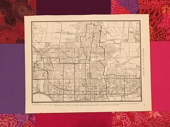 City Of Toronto Map / Vintage Map Decor / City Map Wall Art / With Map Wall Art Toronto (Image 4 of 20)