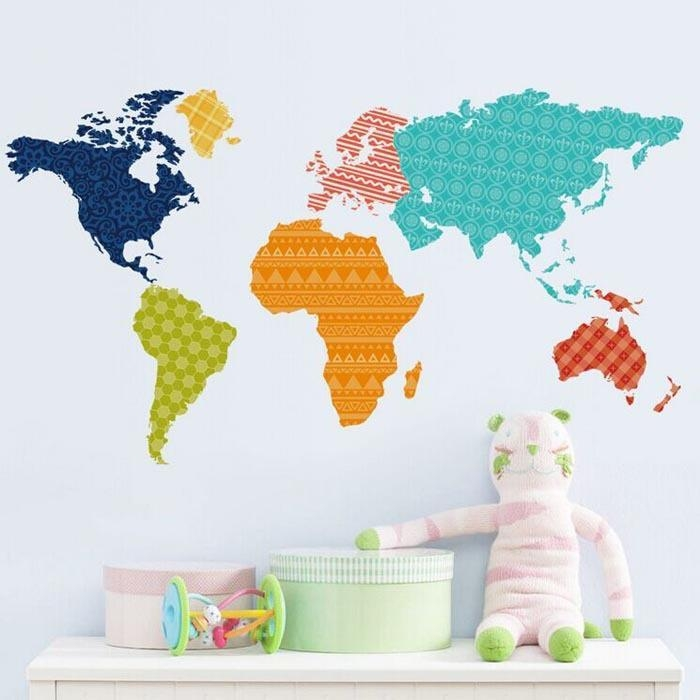 Color World Map Wall Stickers Colorful World Map Sticker Living For Kids World Map Wall Art (Image 5 of 20)