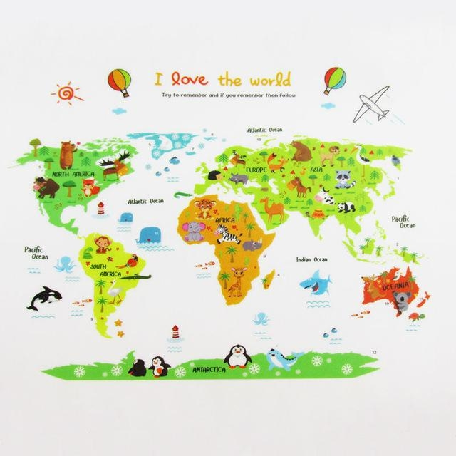 Colorful World Map Wall Sticker Decal Vinyl Animal Cartoon Wall Pertaining To Kids World Map Wall Art (Image 6 of 20)