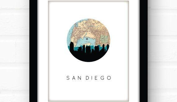 Crafty San Diego Wall Art Chargers Canvas Water Tuscan Map Print Intended For San Diego Map Wall Art (Image 9 of 20)