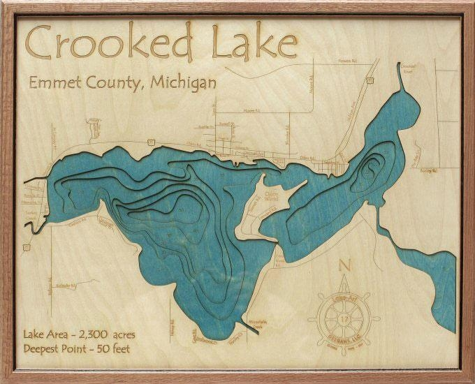 Crooked Lake 3D Depth Map – Grandpa Shorters Inside Lake Map Wall Art (View 12 of 20)