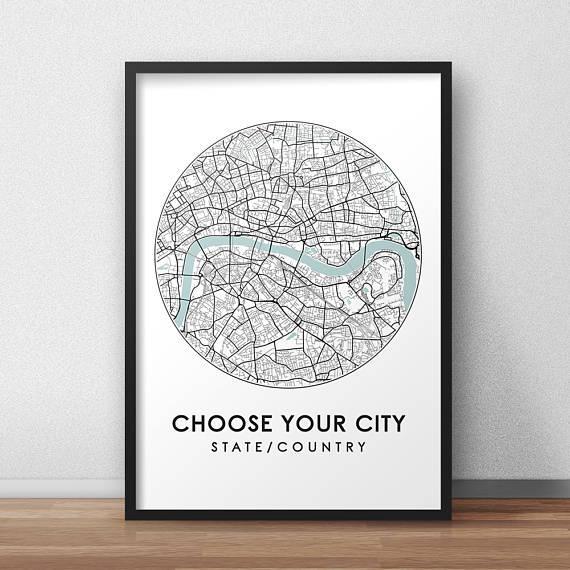 Custom City Print Street Map Art Custom Map Poster Custom With Regard To Custom Map Wall Art (Photo 5 of 20)