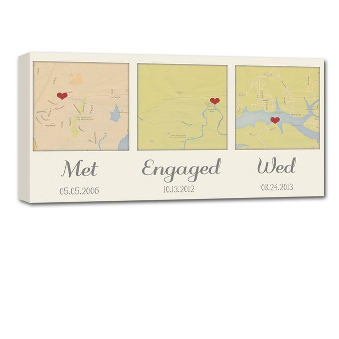 Custom Map Wall Art Your 3 Special Locations Canvas Holiday Gift Throughout Custom Map Wall Art (Image 10 of 20)
