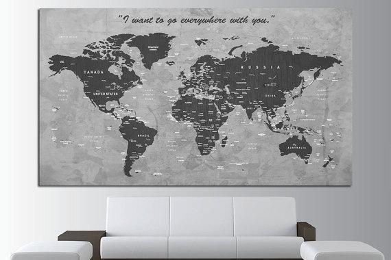 Custom Quote Push Pin World Map Canvas Print World Map Wall Within Custom Map Wall Art (Image 11 of 20)