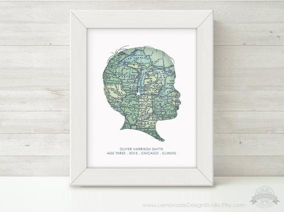 Custom Silhouette, Map Wall Art, Personalized Childrens Silhouette With Custom Map Wall Art (Image 12 of 20)