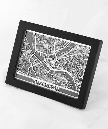 Cut Maps Stainless Steel Pittsburgh Map Framed Wall Art | Zulily With Pittsburgh Map Wall Art (Image 10 of 20)