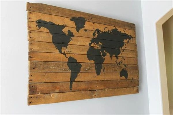 Decorate Your Walls With Diy Pallet Map Wall Art Pallets Designs For Wood Map Wall Art (Image 6 of 20)