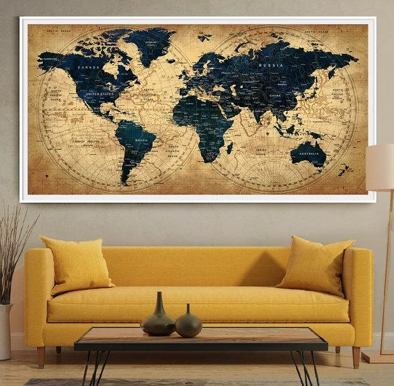 Decorative Extra Large World Map Push Pin Travel Wall Art Pertaining To Large World Map Wall Art (Image 5 of 20)