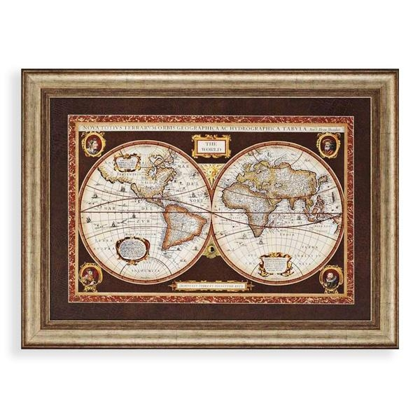 Decorative World Map Framed Wall Art World Maps Wayfair Classic Within Framed Map Wall Art (Image 7 of 20)