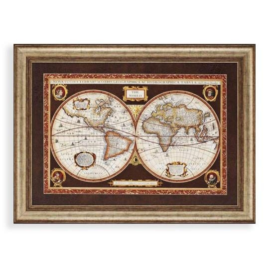 Decorative World Map Framed Wall Art World Maps Wayfair Classic Within World Map Wall Art Framed (Image 3 of 20)