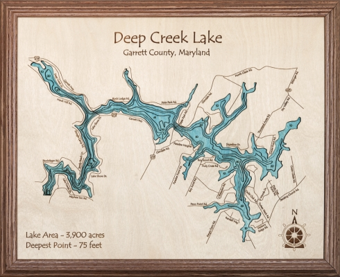 Deep Creek Lake Map Wooden Wall Art Within Lake Map Wall Art (Image 6 of 20)