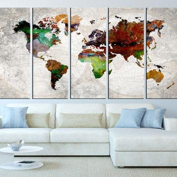 Definition Of Happiness Funny Wall Art From Bluebookdesign On Regarding World Map Wall Art Framed (Image 4 of 20)