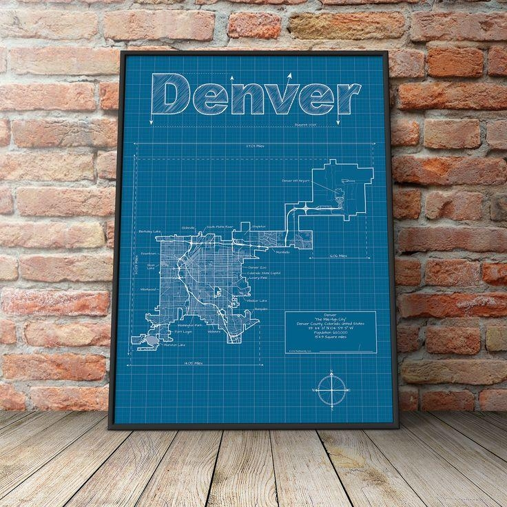 Denver Map / Original Artwork / Denver Map Art / Wall Art With Regard To Portland Map Wall Art (Image 7 of 20)