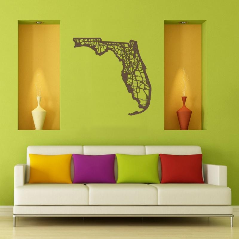 District17: Florida Map Wooden Wall Art: Wall Plaques Regarding Florida Map Wall Art (Image 9 of 20)