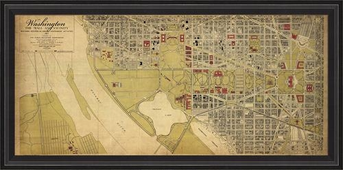 District17: Washington Dc Map 1917 Framed Wall Art: Framed Art Inside Washington Dc Map Wall Art (Image 7 of 20)
