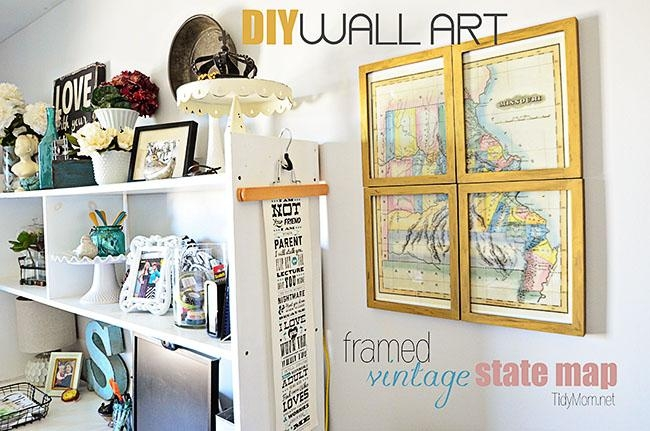 Diy Framed Vintage State Map In State Map Wall Art (Image 5 of 20)
