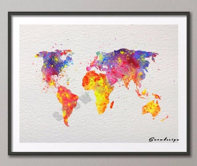 Diy Original Watercolor World Map Wall Art Canvas Painting Poster Within World Map Wall Art Print (Image 5 of 20)