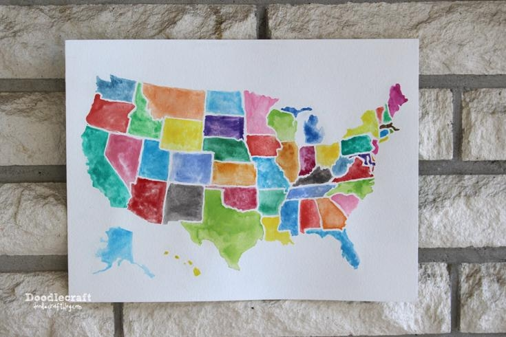 Doodlecraft: Usa Watercolor Wall Art Using Frisket! Inside State Map Wall Art (Image 7 of 20)