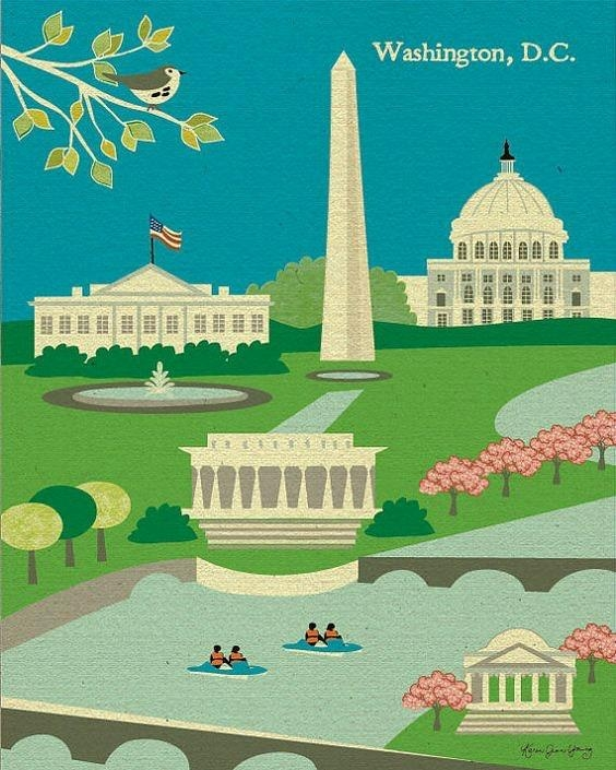 Elegant Washington Dc Poster And Magnificent Ideas Of Dc Skyline Within Washington Dc Map Wall Art (Image 8 of 20)