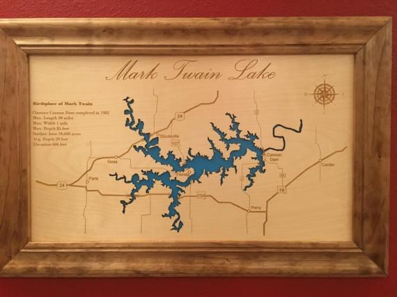 Engraved Lake Map Custom Wall Art Custom Map Cabin Sign Pertaining To Lake Map Wall Art (Image 7 of 20)
