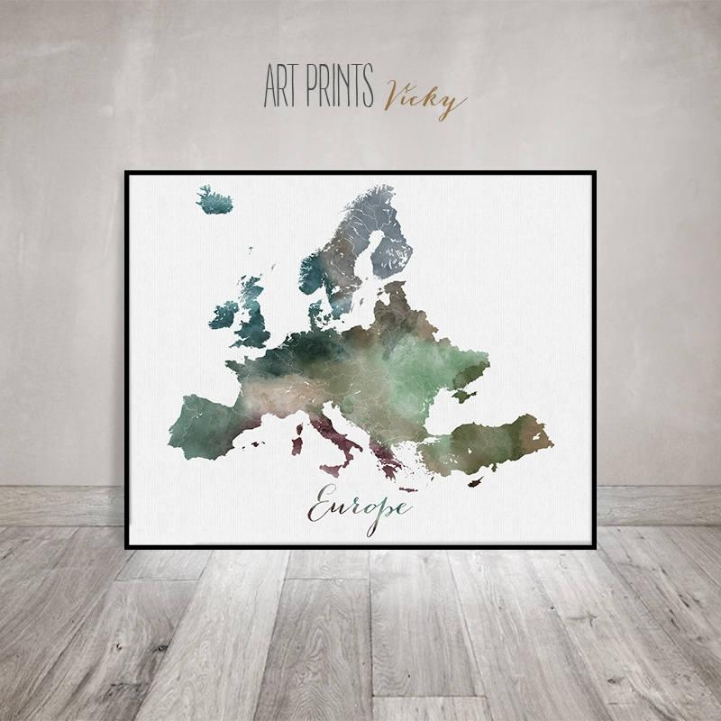 Europe Map, Europe Watercolor Map, Wall Art, Europe Map Poster Intended For Europe Map Wall Art (Image 9 of 20)