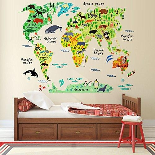 Eveshine Animal World Map Peel & Stick Nursery Wall Decals Intended For World Map Wall Art For Kids (View 12 of 20)