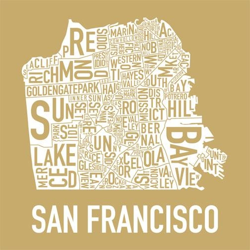 Exclusive New San Francisco Neighborhoods Print « Mission Mission With Regard To San Francisco Map Wall Art (Image 6 of 20)