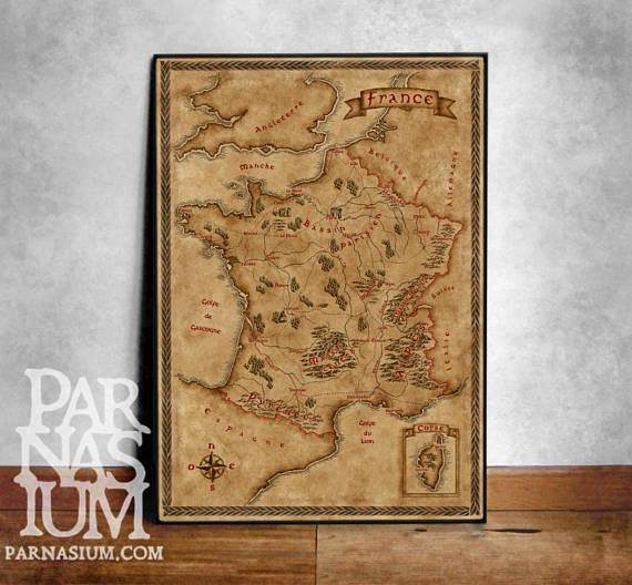 Fantasy Map Of France Wall Art Print Wall Decor Fantasy Within Old Map Wall Art (View 19 of 20)