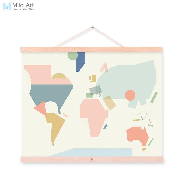 Fashion Colorful Abstract World Map Kawaii A4 Wooden Framed Canvas Regarding Abstract World Map Wall Art (Image 5 of 20)