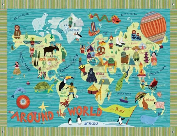 Five Beautiful World Maps For Kids' Rooms | Kiddley Regarding Kids World Map Wall Art (Image 8 of 20)