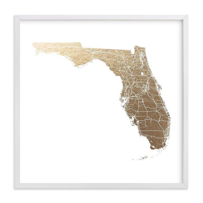 Florida Map Filled Foil Pressed Wall Artgeekink Design | Minted Inside Florida Map Wall Art (Image 10 of 20)