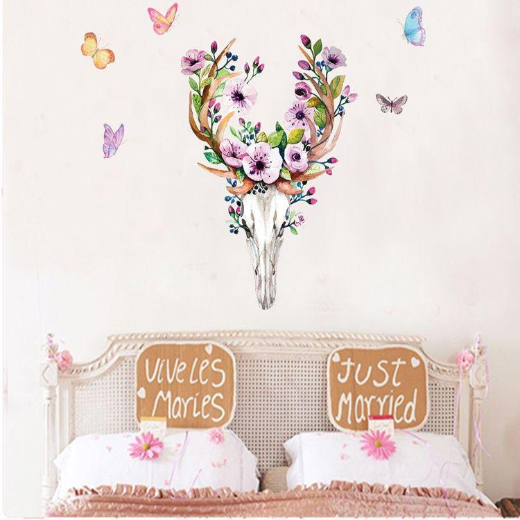 Flowers Elk Deer Wall Stickers Colorful Animals Head Wall Art Intended For Butterfly Map Wall Art (Image 13 of 20)