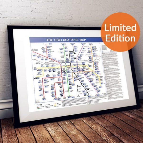 Football Canvas Wall Art, Great Gift For Chelsea Fc Fans Throughout Tube Map Wall Art (Image 9 of 20)