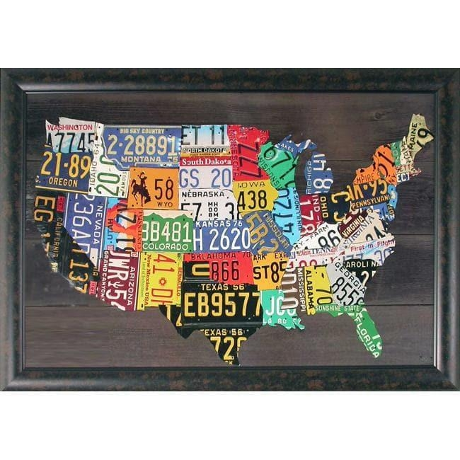 Foster, 'usa Map' Hand Embellished Framed Wall Art – Free Shipping For Framed Map Wall Art (Image 9 of 20)