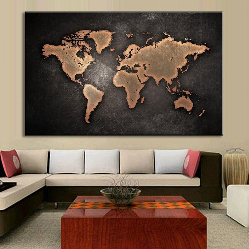 Framed Large Abstract Black World Map Painting Print On Canvas For Large Map Wall Art (Image 5 of 20)