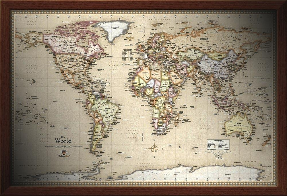 Framed Maps |Wood And Aluminum Frames For Wall Maps In World Map Wall Art Framed (Image 5 of 20)