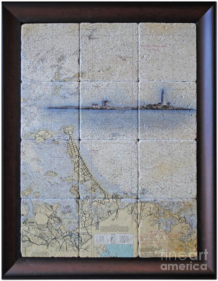 Framed Nautical Chart Of Hingham And Hull With Boston Light Pertaining To Nautical Map Wall Art (Image 12 of 20)